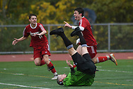 CVU's Jonah Roberts (9) and Caleb Martin celebrates a goal as the referee falls down during the division I boys soccer championship game between the St. Johnsbury Hilltoppers and the Champlain Valley Union Redhawks at Buck Hard Field on Saturday morning November 3, 2018 in Burlington. (BRIAN JENKINS/for the FRESS PRESS)