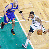 26 April 2013: Boston Celtics shooting guard Courtney Lee (11) drives past New York Knicks point guard Jason Kidd (5) during Game Three of the Eastern Conference Quarterfinals of the 2013 NBA Playoffs at the TD Garden, Boston, Massachusetts, USA.