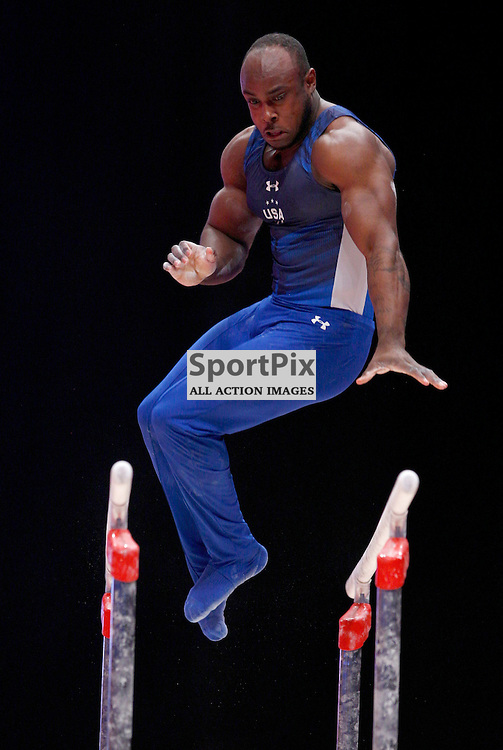 2015 Artistic Gymnastics World Championships being held in Glasgow from 23rd October to 1st November 2015....Donnell Whittenburg (USA) competing in the Parallel Bars competition..(c) STEPHEN LAWSON | SportPix.org.uk