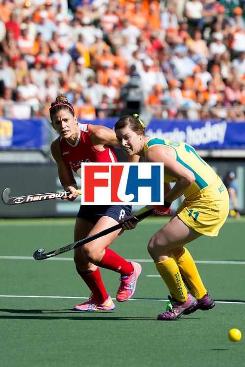 THE HAGUE - Rabobank Hockey World Cup 2014 - 12-06-2014 - WOMEN - SEMI-FINAL USA - AUSTRALIA - AUSTRALIA WINS - Rachel Dawson en Karri McMahon.<br /> Copyright: Willem Vernes