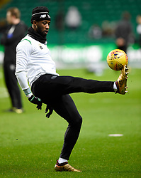Celtic's Moussa Dembele during the warm up before the Scottish Premiership match at Celtic Park, Glasgow.