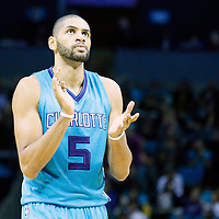 01 November 2015: Charlotte Hornets forward Nicolas Batum (5) reacts during the Atlanta Hawks 94-92 victory over the Charlotte Hornets, at the Time Warner Cable Arena, in Charlotte, North Carolina, USA.