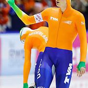 NLD/Heerenveen/20130112 - ISU Europees Kampioenschap Allround schaatsen 2013 dag 2, 1500 meter heren, start Sven Kramer boos