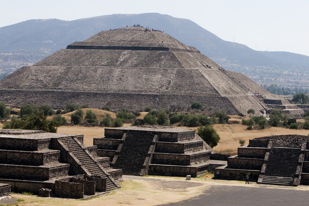 """Teotihuacan was the largest pre-Columbian city in the Americas. The city's broad central avenue, called """"Avenue of the Dead"""", is flanked by impressive ceremonial architecture, including the immense Pyramid of the Sun (second largest in the New World after the Great Pyramid of Cholula) and the Pyramid of the Moon. Further down the Avenue of the Dead is the area known as the Citadel, containing the ruined Temple of the Feathered Serpent. Feb. 22, 2008. (ivan gonzalez)."""