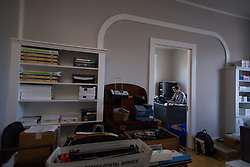 Blue Grass Trust for Historic Preservation Jason Sloan, Director of Preservation works in his new office in the renovated Thomas Hunt Morgan house to serve as a rental space and a new headquarters, Friday, Feb. 05, 2016 at the Thomas Hunt Morgan House in Lexington.