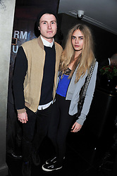 FELIX COOPER and CARA DELEVINGNE at a party to celebrate 41 years of the Farm Club in Verbier held at Club Nouveau, The Arts Club, Dover Street, London on 16th November 2011.