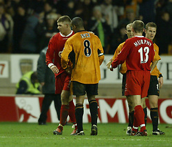WOLVERHAMPTON, ENGLAND - Wednesday, January 21st, 2004: Liverpool's Steven Gerrard and Wolverhampton Wanderers' Paul Ince after the Premiership match at Molineux. (Pic by David Rawcliffe/Propaganda)