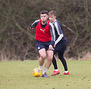 Dundee&rsquo;s Kerr Waddell and Jack Lambert during Dundee FC training at the Michelin Grounds, Dundee<br /> <br /> <br />  - &copy; David Young - www.davidyoungphoto.co.uk - email: davidyoungphoto@gmail.com