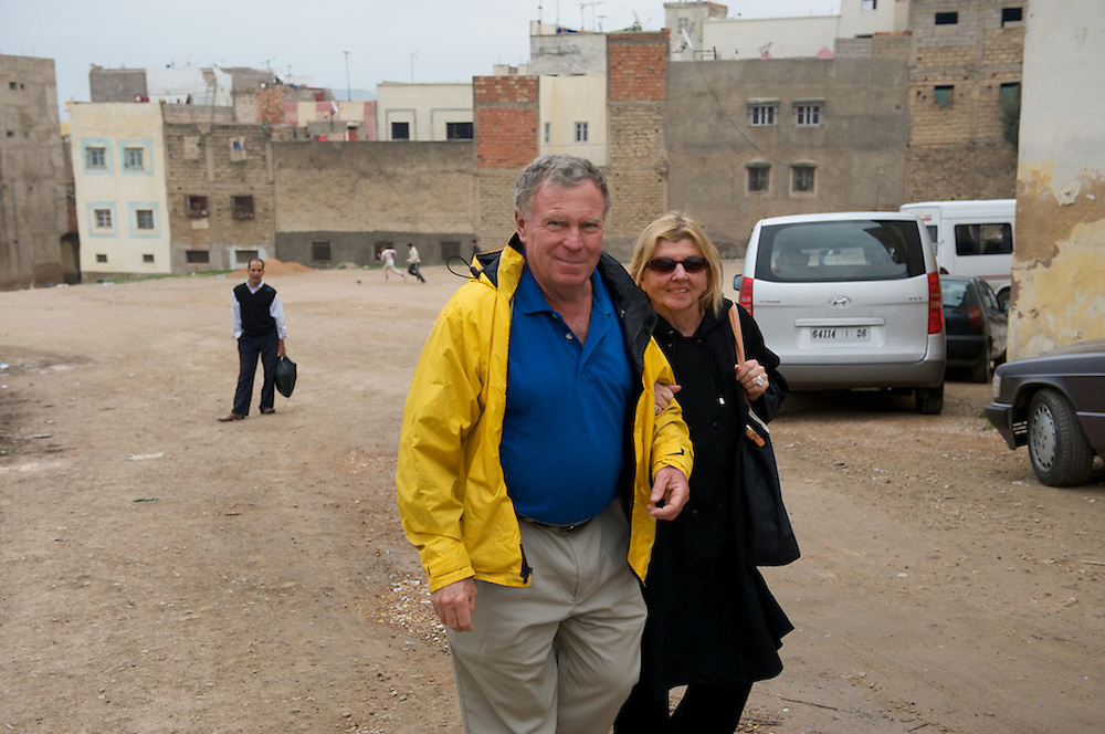 "Grant and Helene Wilson tour the neighborhoods of Fes, Morocco which is one of the four so-called ""imperial cities"", and where the Medina of Fes el Bali, the larger of the two medinas of Fes, is believed to be the largest contiguous car-free urban area in the world. Fes el Bali is classified as a UNESCO World Heritage Site.  Photo by Johnny Bivera"