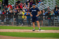KELOWNA, CANADA - JUNE 28: NHL Montreal Canadiens Shea Weber stands on first base during the opening charity game of the Home Base Slo-Pitch Tournament fundraiser for the Kelowna General Hospital Foundation JoeAnna's House on June 28, 2019 at Elk's Stadium in Kelowna, British Columbia, Canada.  (Photo by Marissa Baecker/Shoot the Breeze)