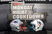 The helmets of both competing teams decorate the set of ESPN Monday Night Countdown during the Miami Dolphins NFL week 1 football game against the New England Patriots on Monday, September 12, 2011 in Miami Gardens, Florida. The Patriots won the game 38-24. ©Paul Anthony Spinelli