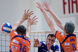 Matej Vidic and Oliver Venno of ACH vs Darijo Savicic of Salonit at final match of Slovenian National Volleyball Championships between ACH Volley Bled and Salonit Anhovo, on April 24, 2010, in Radovljica, Slovenia. ACH Volley defeated Salonit 3rd time in 3 Rounds and became Slovenian National Champion.  (Photo by Vid Ponikvar / Sportida)