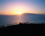 Sunset behind Lanai, Maui, Hawaii, USA<br />