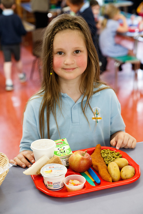 School dinners at Broomhill Primary School, Glasgow. Be a Dalton-Hogwood with her lunch.   Picture Robert Perry 22nd April 2016