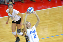 23 November 2017:  Sara Jensen sets the ball backwards to Kyla Inderski during a college women's volleyball match between the Drake Bulldogs and the Indiana State Sycamores in the Missouri Valley Conference Tournament at Redbird Arena in Normal IL (Photo by Alan Look)