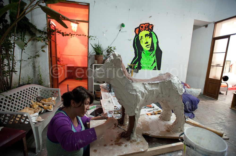 Barranco, resident arrtists. In the studio of a collective of young artists. Santa Rosa street.