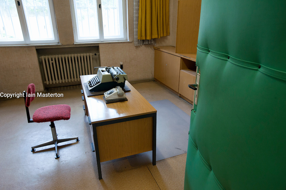 Interview room at former East German state secret security police or STASI prison at Hohenschönhausen in Berlin Germany