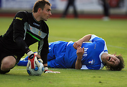 Goalkeeper of Domzale Darko Brljak and Etien Velikonja faulted for penalty shot at 32th Round of Slovenian First League football match between NK Domzale and NK Hit Gorica in Sports park Domzale, on May 6, 2009, in Domzale, Slovenia. Gorica won 2:0. (Photo by Vid Ponikvar / Sportida)