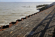 North Sea coastline coastal defences at East Lane, Bawdsey, Suffolk, England, UK