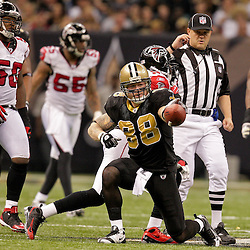 2009 November 02: New Orleans Saints tight end Jeremy Shockey (88) celebrates after a first down reception against the Atlanta Falcons during a 35-27 win by the Saints over the Falcons at the Louisiana Superdome in New Orleans, Louisiana.