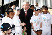 MELBOURNE, AUSTRALIA - JULY 30:  Prime Minister Kevin Rudd poses with children from Caroline springs Primary school during the Official Launch of the ICC Cricket World Cup 2015 on July 30, 2013 in Melbourne, Australia.  Photo: Robert Prezioso/ ICC