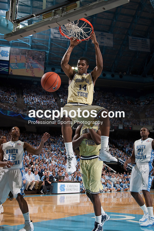 16 January 2010: Georgia Tech Ramblin Wreck forward Derrick Favors (14) during a 71-73 win over the North Carolina Tar Heels at the Dean E. Smith Center in Chapel Hill, NC.