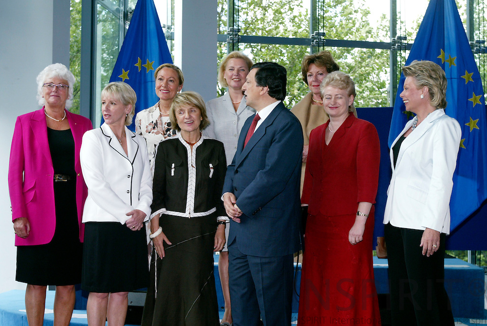 BRUSSELS - BELGIUM  -20 AUGUST 2004--Informal meeting of the Barroso Commission--The 8 women nominee Commissioners, from left to right : Mariann Fischer Boel, Margot Wallström, Benita Ferrero-Waldner, Danuta Hübner, Ingrida Udre, José Manuel Barroso, Neelie Kroes, Dalia Grybauskaite and Viviane Reding .--PHOTO: ERIK LUNTANG / INSPIRIT