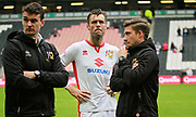MK Dons Elliott Ward(15) looking disappointed on the lap of appreciation by the MK Dons players after the EFL Sky Bet League 1 match between Milton Keynes Dons and Scunthorpe United at stadium:mk, Milton Keynes, England on 28 April 2018. Picture by Nigel Cole.