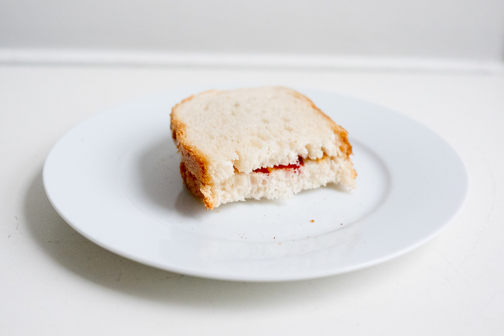PB & J Sandwich at home ($ick) - Recovery at home from stomach thing