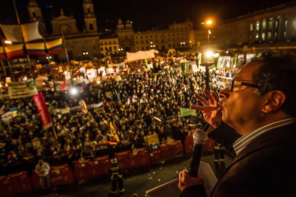 Bogotá, Colombia - January 22, 2014:  Mayor Gustavo Petro gives a speech to thousands of his supporters, gathered in Bolívar Square in downtown Bogotá to protest the inspector general's decision to remove the mayor from office for failure to correctly run the city's waste management program. Petro, a former left-wing M-19 guerrilla, says the decision is politically motivated.  CREDIT: Meridith Kohut for The New York Times