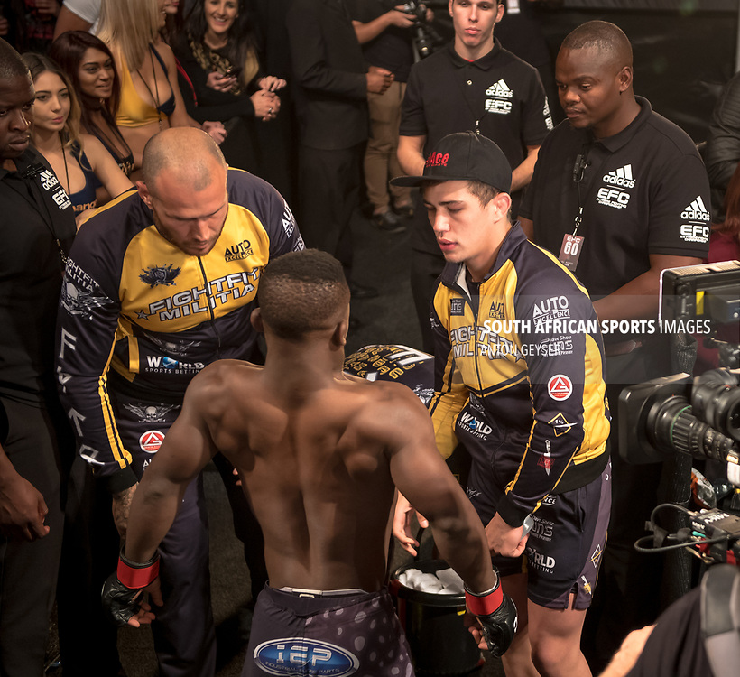 DURBAN, SOUTH AFRICA - JUNE 10: Bokang Masunyane from South Africa enters the arena during the EFC 60 Fight Night at Sibaya Casino on June 10, 2017 in Durban, South Africa. (Photo by Anton Geyser/EFC Worldwide/Gallo Images)