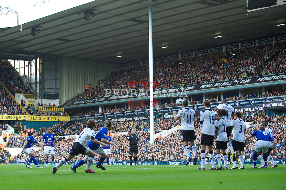 LONDON, ENGLAND - Saturday, October 23, 2010: Everton's Leighton Baines scores the opening goal against Tottenham Hotspur from a free-kick during the Premiership match at White Hart Lane. (Photo by Gareth Davies/Propaganda)