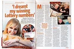Tear Sheet Deana Lottery Winner Woman Magazine.22 February 2011.Images © Paul David Drabble
