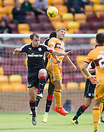 Motherwell&rsquo;s Scott McDonald and Dundee&rsquo;s Paul McGowan - Motherwell v Dundee in the Ladbrokes Scottish Premiership at Fir Park, Motherwell. Photo: David Young<br /> <br />  - &copy; David Young - www.davidyoungphoto.co.uk - email: davidyoungphoto@gmail.com