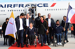 Teddy Riner and Michael Jeremiasz during the return of the Paris 2024 delegation to the Charles de Gaulle Airport , Paris, September 15, 2017. Co-Presidents of Paris 2024, Tony Estanguet and Bernard Lapasset, General Manager Etienne Thobois, Mayor of Paris Anne Hidalgo, President of Region Ile de France Valerie Pecresse, President of French Handisport Federation Emmanuelle Assmann, NOC France President Denis Masseglia, Minister of Sports Laura Flessel, IOC member Guy Drut, Athletes Teddy Riner, Marie-Jose Perec, Emmeline Ndongue, Sarah Ourahmoune, Fabien Gillot, Arnaud Assoumani, Fabrice Guyart, during the return of the Paris 2024 delegation to the Charles de Gaulle Airport , Paris, September 15, 2017. Photo by Paris 2024/ABACAPRESS.COM