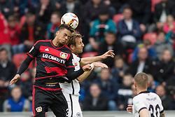 16.04.2016, BayArena, Leverkusen, GER, 1. FBL, Bayer 04 Leverkusen vs Eintracht Frankfurt, 30. Runde, im Bild Vladlen Yurchenko (Bayer 04 Leverkusen #35) im Kopfballduell gegen Stefan Aigner (Eintracht Frankfurt #16) // during the German Bundesliga 30th round match between Bayer 04 Leverkusen and Eintracht Frankfurt at the BayArena in Leverkusen, Germany on 2016/04/16. EXPA Pictures © 2016, PhotoCredit: EXPA/ Eibner-Pressefoto/ Schüler<br /> <br /> *****ATTENTION - OUT of GER*****