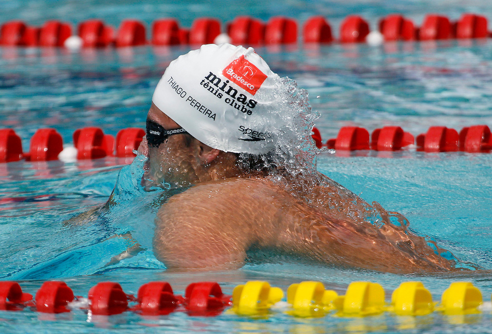 Belo Horizonte _ MG, Brasil...Copa do Mundo de Natacao 2007. Na foto nadador Thiago Pereira, do Brasil, vencedor da prova de 200m medley, em Belo Horizonte...Swimming World Cup 2007. In this photo the swimmer Tiago Pereira, of Brazil, He is the champion in the 200m medley, in Belo Horizonte...Foto: LEO DRUMOND / NITRO
