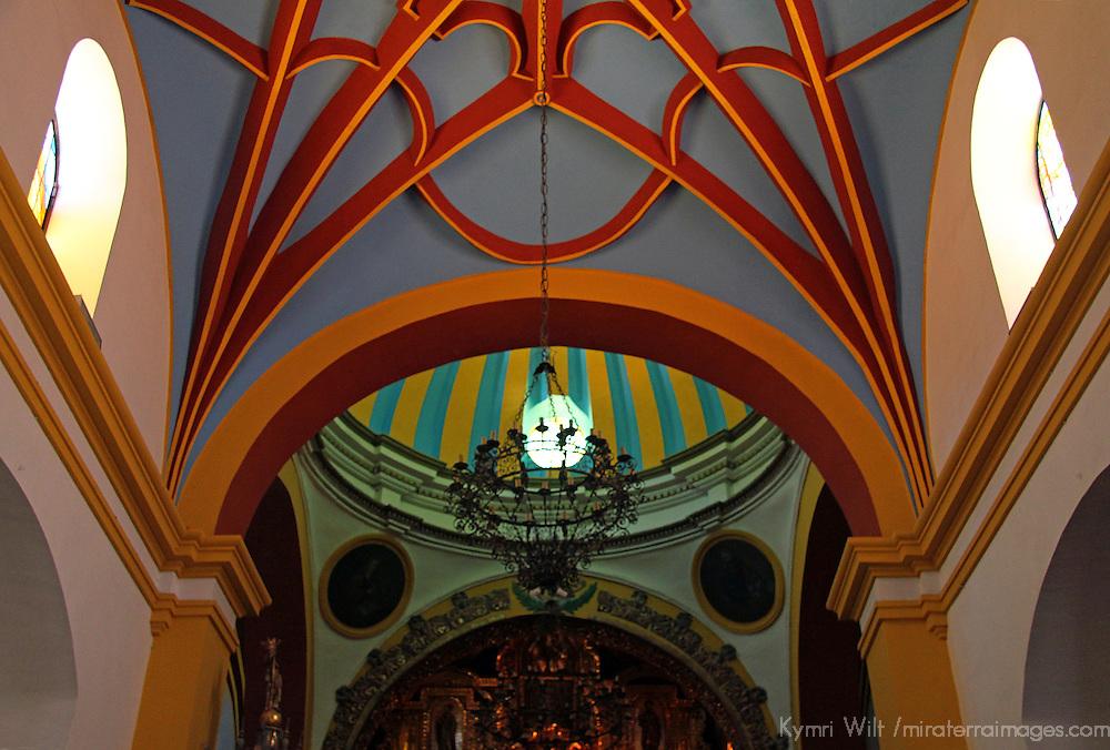 South America, Bolivia, Copacabana. Interior ceiling of the Basilica of Our Lady of Copacabana.
