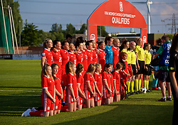 NEWPORT, WALES - Tuesday, June 12, 2018: Wales players sing the national anthem before the FIFA Women's World Cup 2019 Qualifying Round Group 1 match between Wales and Russia at Newport Stadium. Rhiannon Roberts, Helen Ward, Natasha Harding, Jessica Fishlock, Angharad James, Rachel Rowe, Hayley Ladd, Kayleigh Green, Loren Dykes, goalkeeper Laura O'Sullivan, captain Sophie Ingle. (Pic by David Rawcliffe/Propaganda)