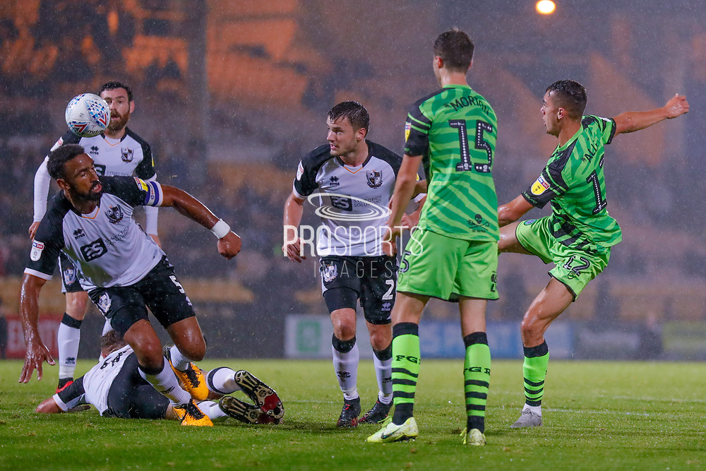 Forest Green Rovers Taylor Allen(12) with a late volley  during the EFL Sky Bet League 2 match between Port Vale and Forest Green Rovers at Vale Park, Burslem, England on 20 August 2019.