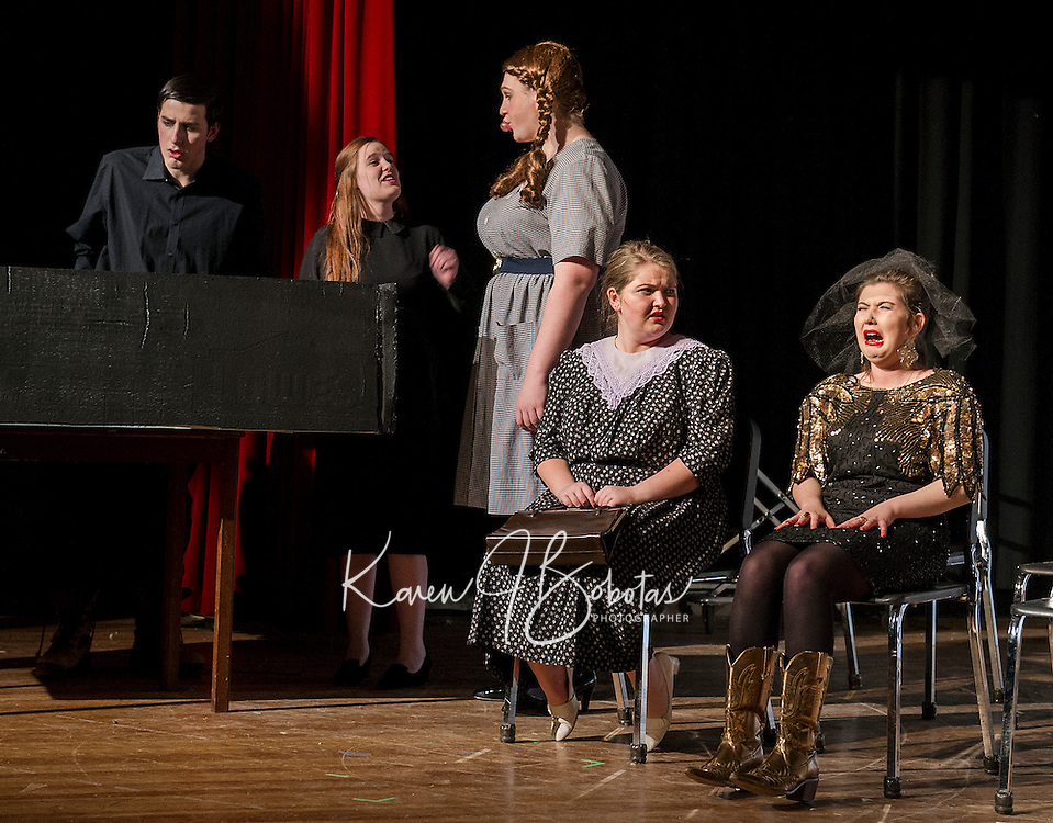 """Ray-Bud (Michael O'Brien), Lucille (Jessica McDermott), Delightful (Taylor Gagne), Marguerite (Kate Persson) and Suzanne (Alana Persson) pay their last respects for the """"Dearly Departed"""" at Wednesday afternoon's dress rehearsal with Laconia High School Drama.  (Karen Bobotas/for the Laconia Daily Sun)"""