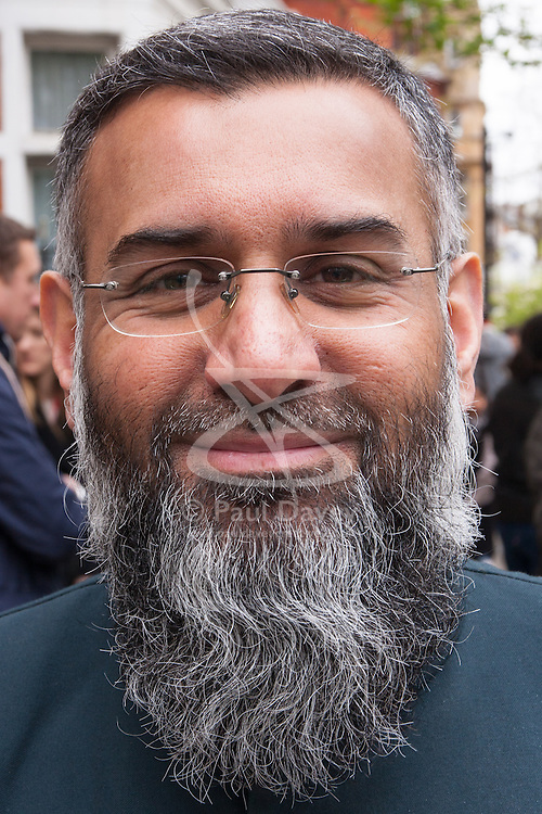 "London, April 4th 2014. Anjem Choudary's Need For Khilafah group demonstrate near the Lebanese embassy against what they say is ""the entire Muslim community being put under siege in North Lebanon"". Pictured: Anjem Choudary."