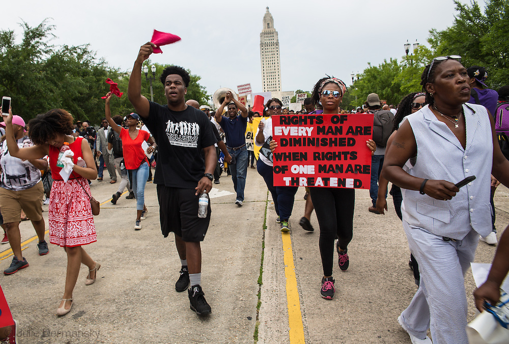 People leaving the Louisiana State Capitol Building during a rally on Sunday, July 10, 2016. About 1000  people turned out to a rally and march in Baton Rouge, LA in response to the police killing of Alton Sterling.