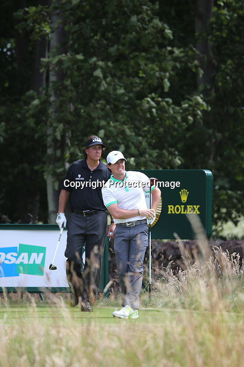 (R-L) Rory McIlroy (NIR), Phil Mickelson (USA),<br /> JULY 18, 2013 - Golf :<br /> Rory McIlroy of Northern Ireland reacts on 9th hole during the first round of the 142nd British Open Championship at Muirfield in Gullane, East Lothian, Scotland. (Photo by Koji Aoki/AFLO SPORT)