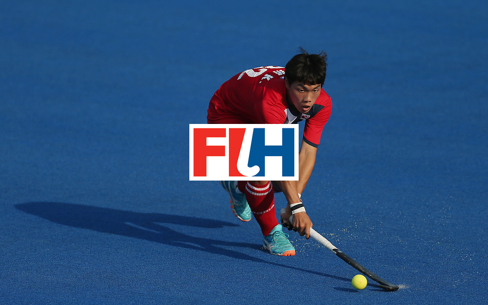 LONDON, ENGLAND - JUNE 19:  Hoon Kim Ki of South Korea during the Pool A match between South Korea and Malaysia on day five of Hero Hockey World League Semi-Final at Lee Valley Hockey and Tennis Centre on June 19, 2017 in London, England.  (Photo by Alex Morton/Getty Images)
