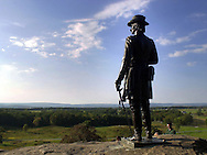 A statue overlooks Little Round Top at Gettysburg National Military Park, Sunday, October 6, 2002, in Gettysburg, Pa. From July 1-3, 1863 the Union Army battled the Confederate Army during the Civil War, in Gettysburg, Pennsylvania. (Photo by William Thomas Cain/photodx.com)