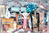 Detail of a uniquely adorned flea market building in Santa Fe, New Mexico, U.S.A.