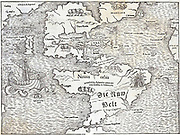 Map of the New World by Sebastian Munster, 1540, showing the name 'Atlantis Island'