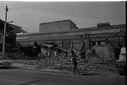 View of Belfast Barricades - Falls Rd, bombay st, nationalists, homes burned, by British loyalists,    Clonard, 30/08/1969