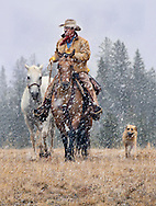 I photographed these horses and cowboys in the mountains near Cody, Wyoming. The Painted Hills, beautiful Aspens, snowy days all were a breathtaking back drop for these scenes. &quot;All Winter Long&quot; was a Finalist in the 2018 'Cowboys and Indians Magazine' Photo Contest.<br /> <br /> TO ORDER; <br /> https://claireporterphotography.pixieset.com/wyominghideoutranch/<br /> <br /> Any enlargement may be ordered by emailing me, too. I look forward to consulting with you and creating your very own fine art image. <br /> <br /> Thank you!
